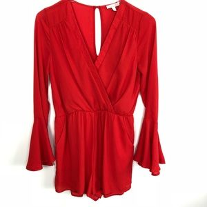 GB | Red Long Sleeve Romper Jumpsuit Small S
